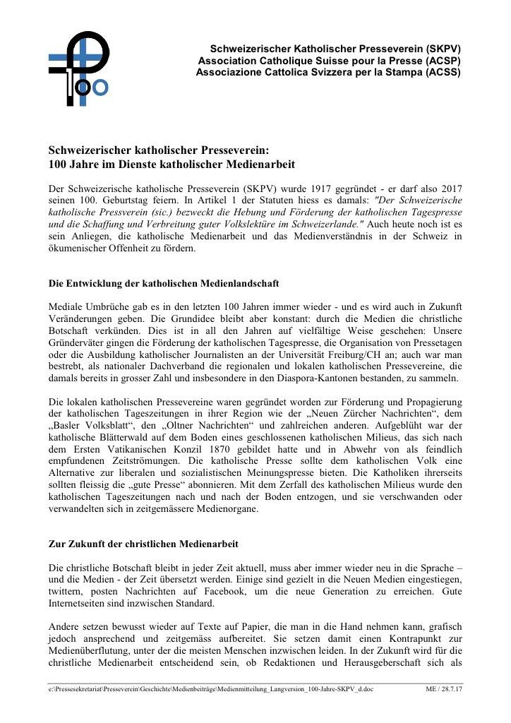 Medienmitteilung Langversion 100 Jahre Skpv D 1