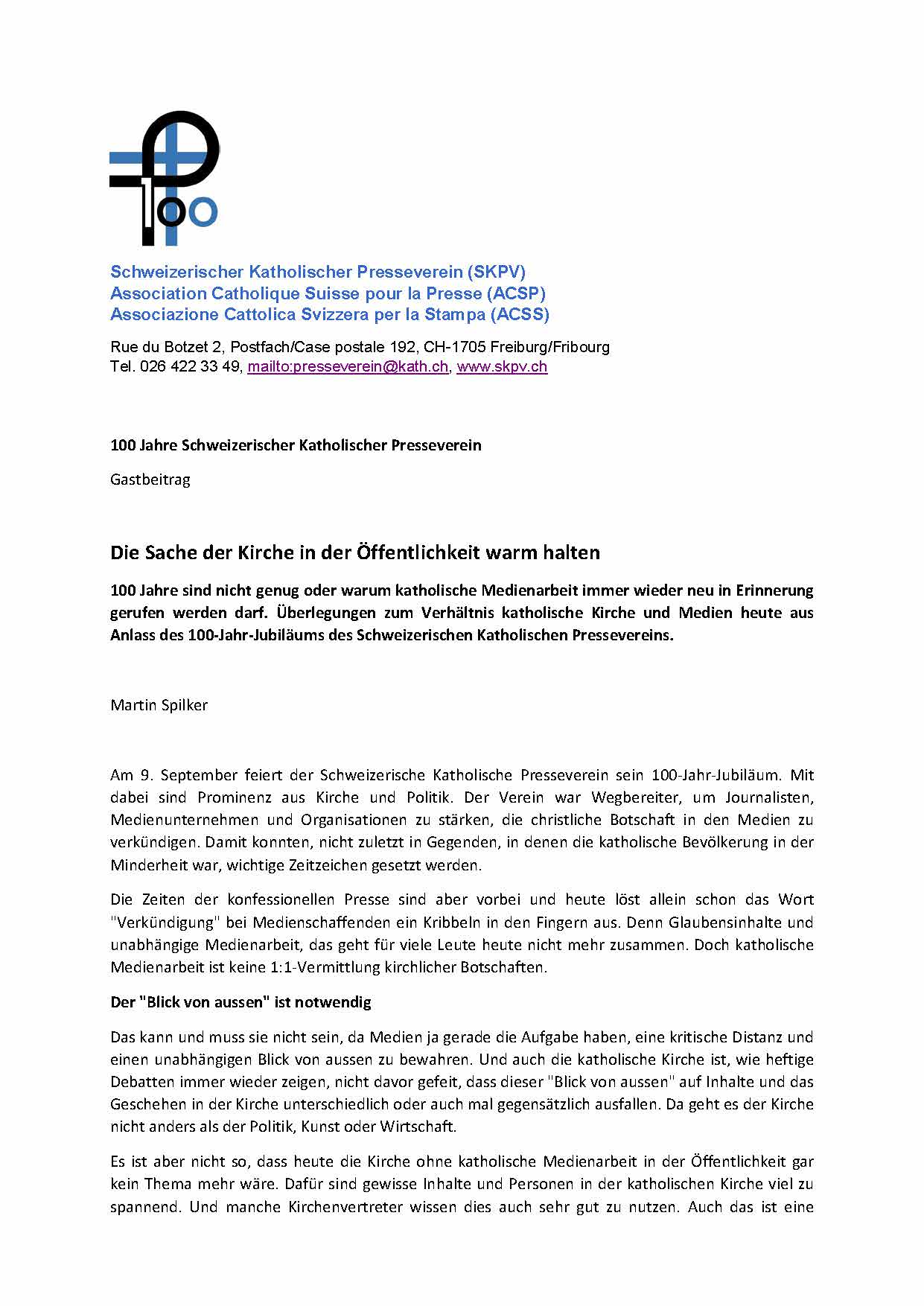 Leitartikel Kirche Und Medien Martin Spilker