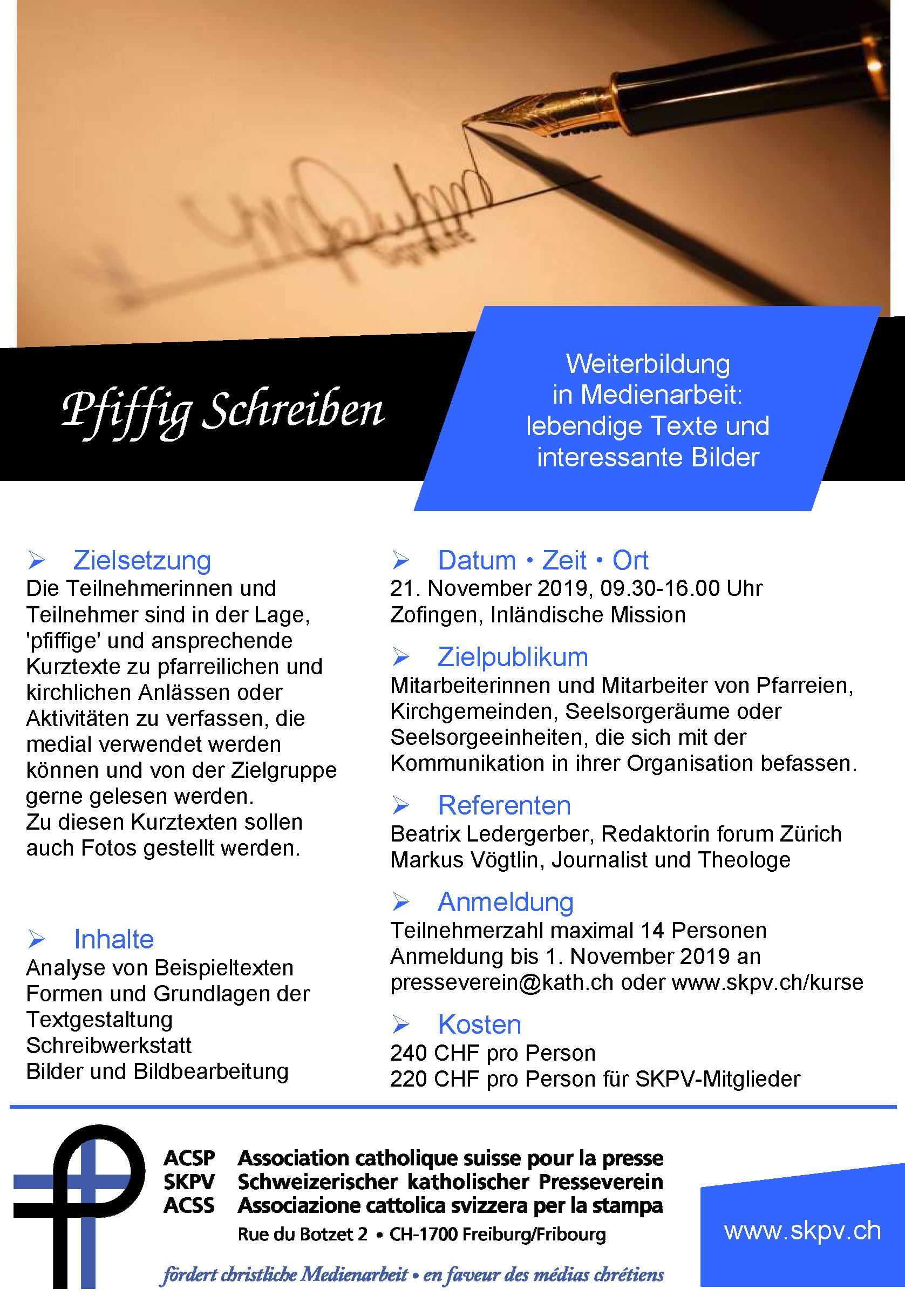 Flyer Pfiffig Schreiben